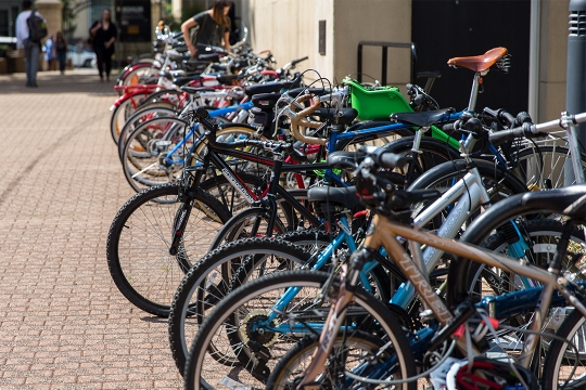 Bicycles parked on sidewalk